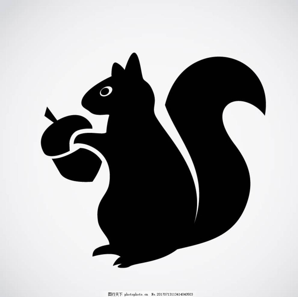 松鼠剪影 卡通动物 动漫卡通 可爱 贺卡 动物插画 儿童绘本 儿童画画