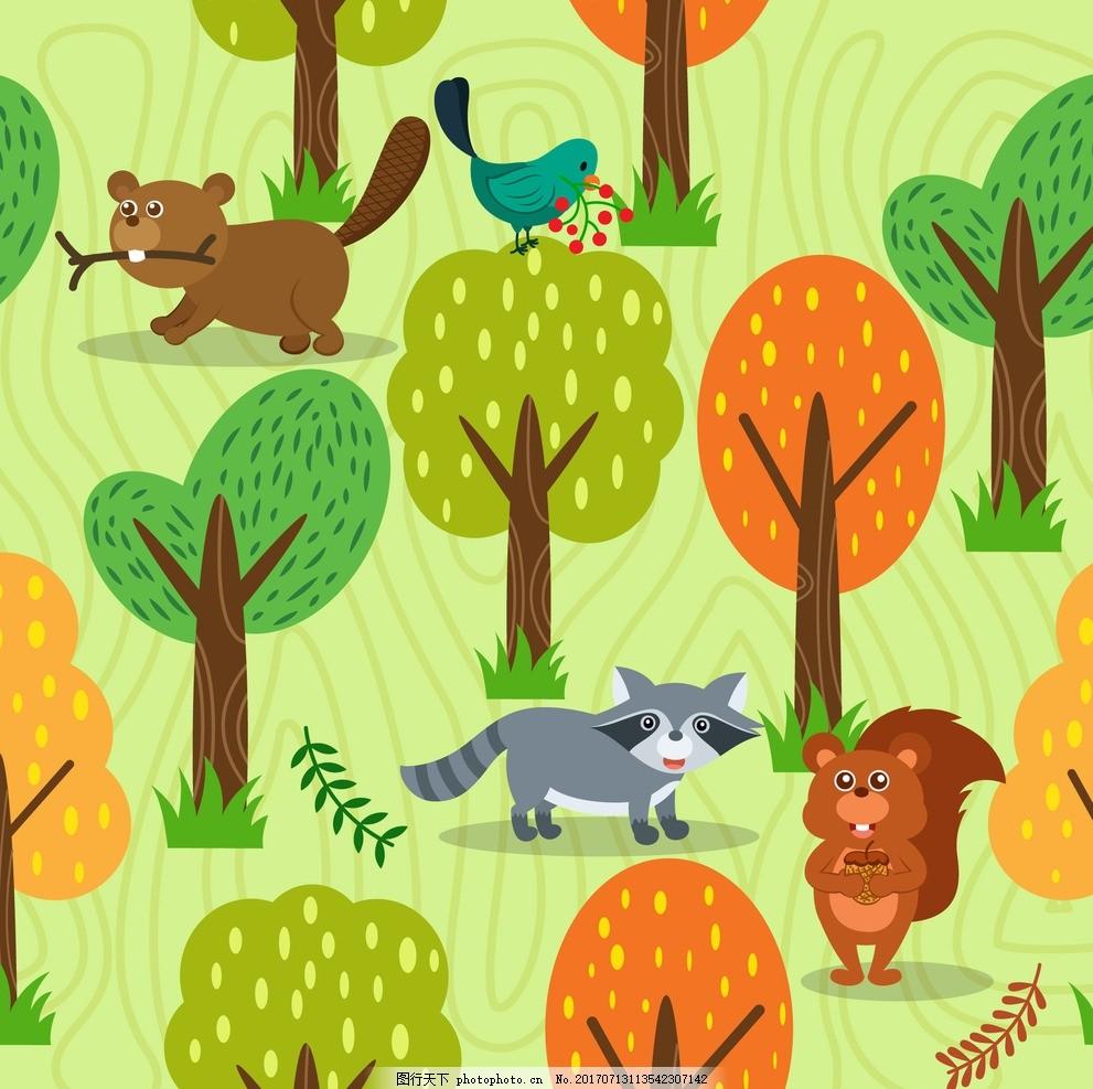 动物森林 动漫卡通 可爱 贺卡 插画 儿童绘本 儿童画画 卡通动物漫画