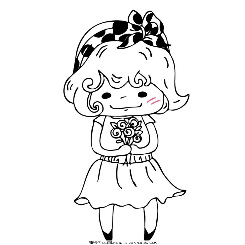 可爱 裙子 卡通女孩 线条人物 黑白线条 手绘女生 人物漫画 人物绘画