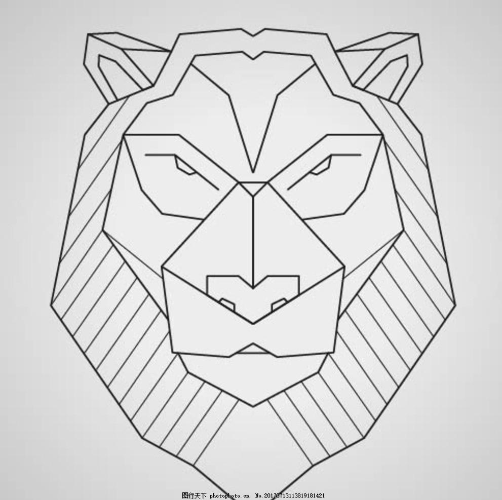 线性狮子 卡通动物 动漫卡通 可爱 贺卡 动物插画 插画 儿童绘本 儿童