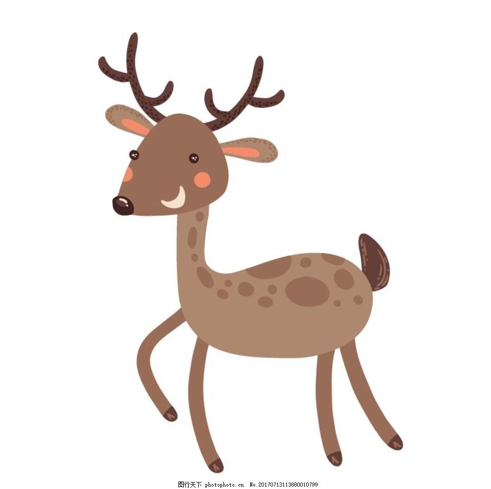 卡通鹿 卡通动物 动漫卡通 可爱 贺卡 动物插画 儿童绘本 儿童画画