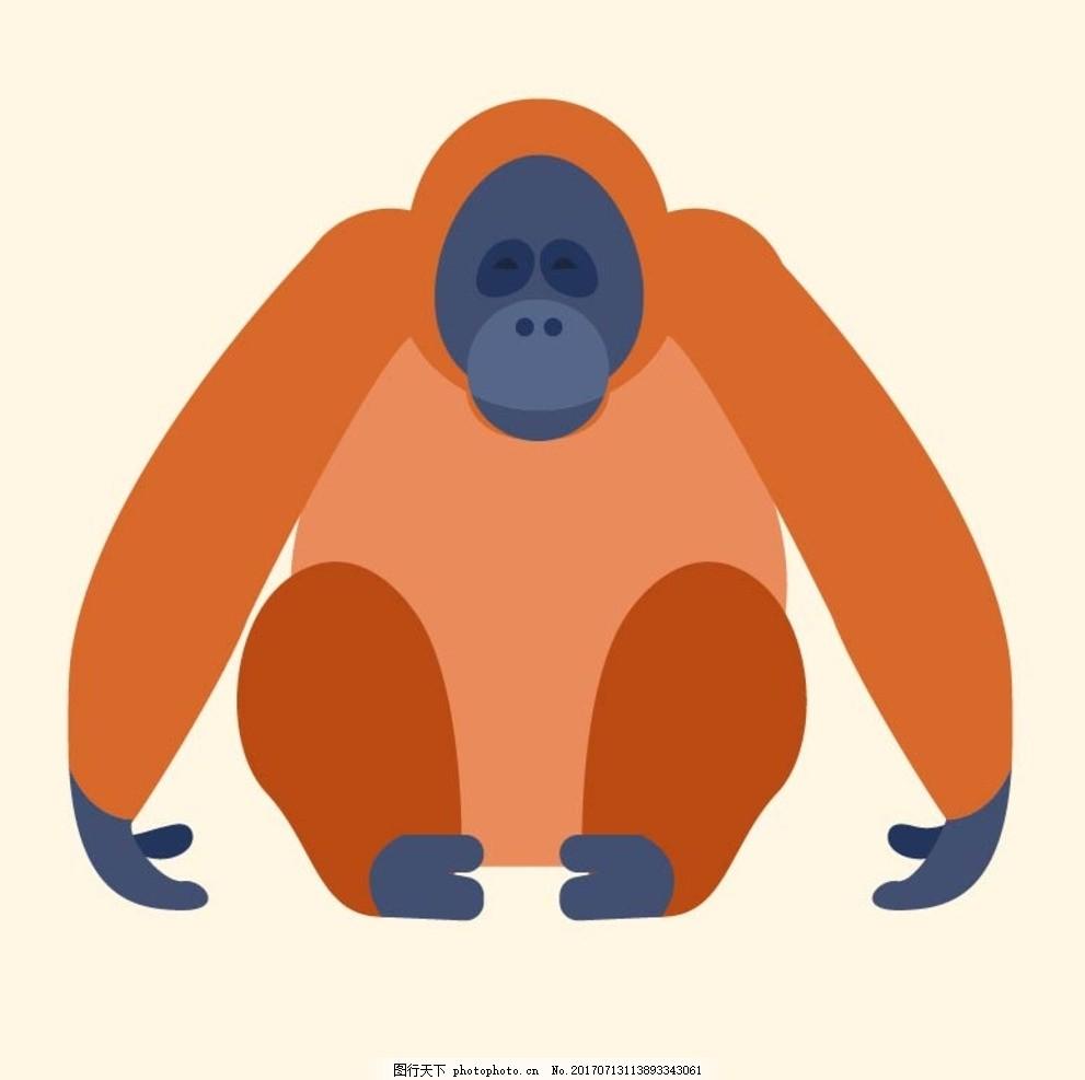 卡通大猩猩 卡通动物 动漫卡通 可爱 贺卡 动物插画 儿童绘本
