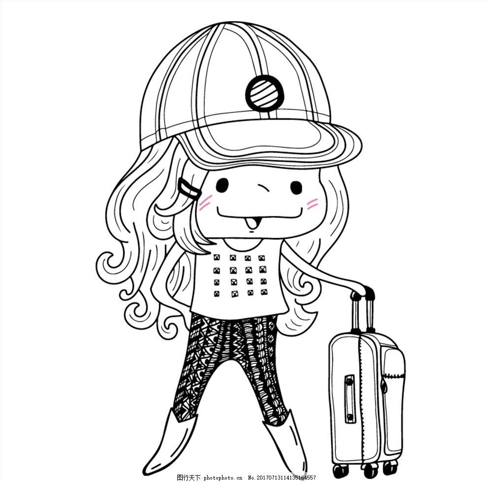 女孩 长发 棒球帽 可爱 时尚 卡通女孩 线条人物 黑白线条 手绘女生