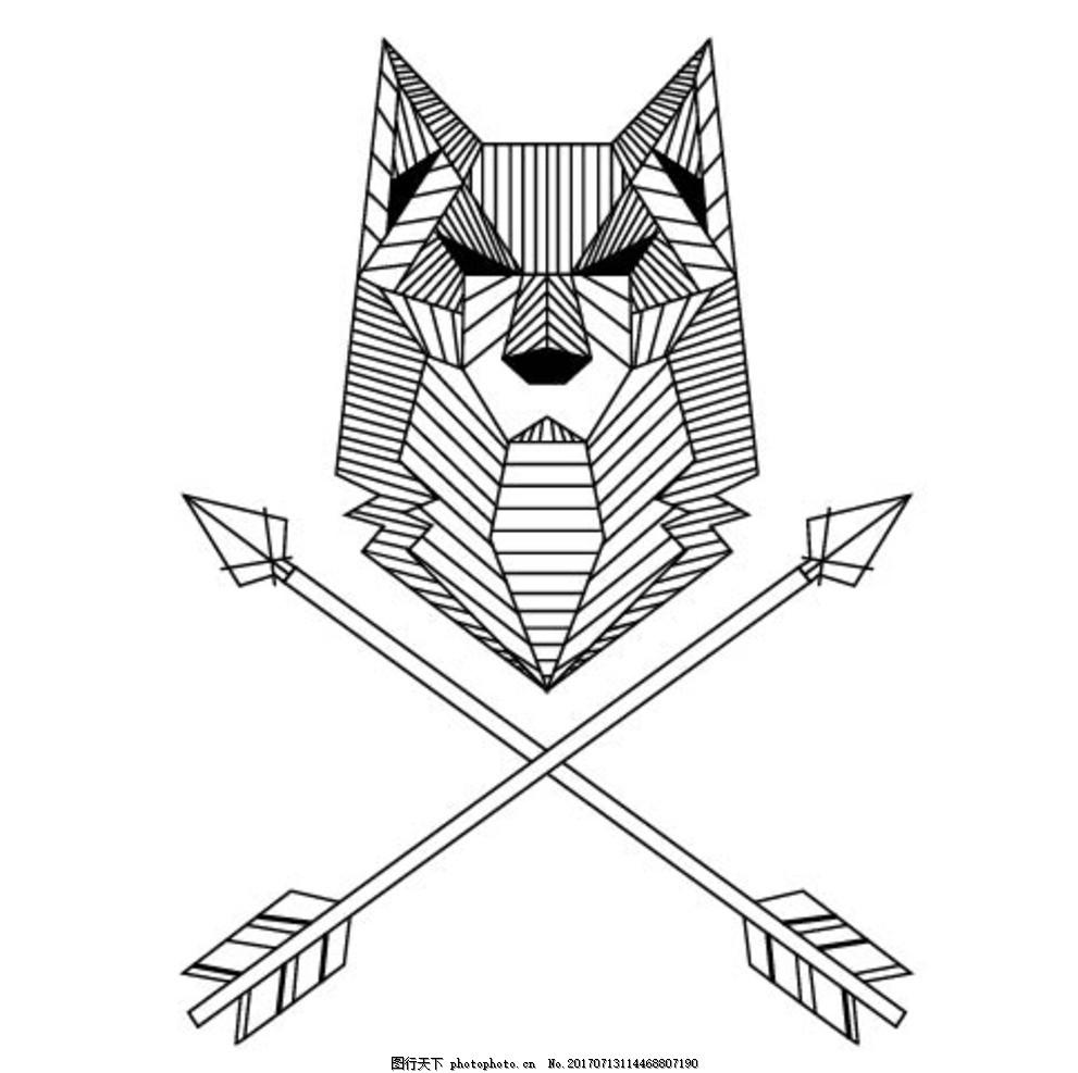 几何体狼 卡通动物 动漫卡通 可爱 贺卡 动物插画 插画 儿童绘本 儿童
