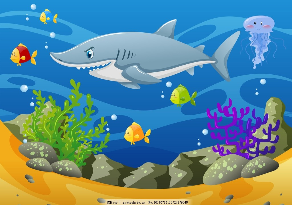 鲨鱼 海底世界 卡通动物 动漫卡通 可爱 贺卡 动物插画 儿童绘本