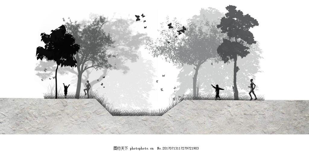 黑白景观平面图