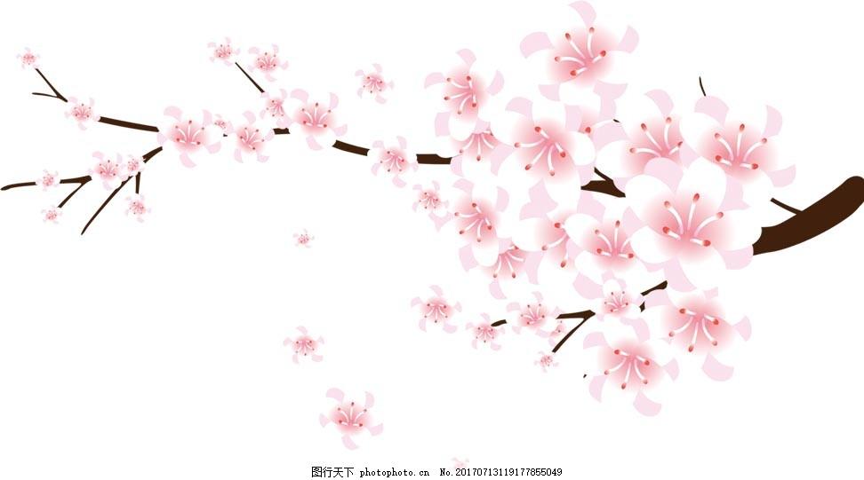 一枝桃花png元素 粉色 中国风 水彩 手绘桃花