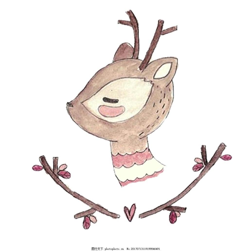 手绘小鹿png元素 手绘画 小动物 野生物 小鹿头像