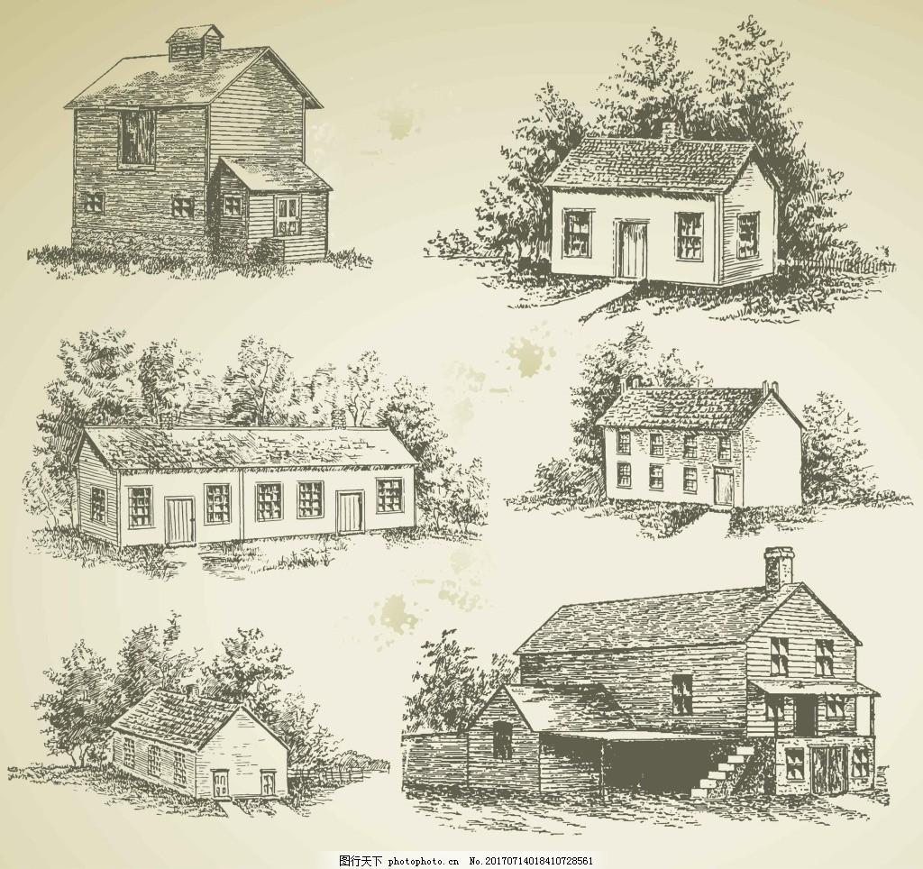 手绘复古房子建筑插画 艺术 残旧 树木