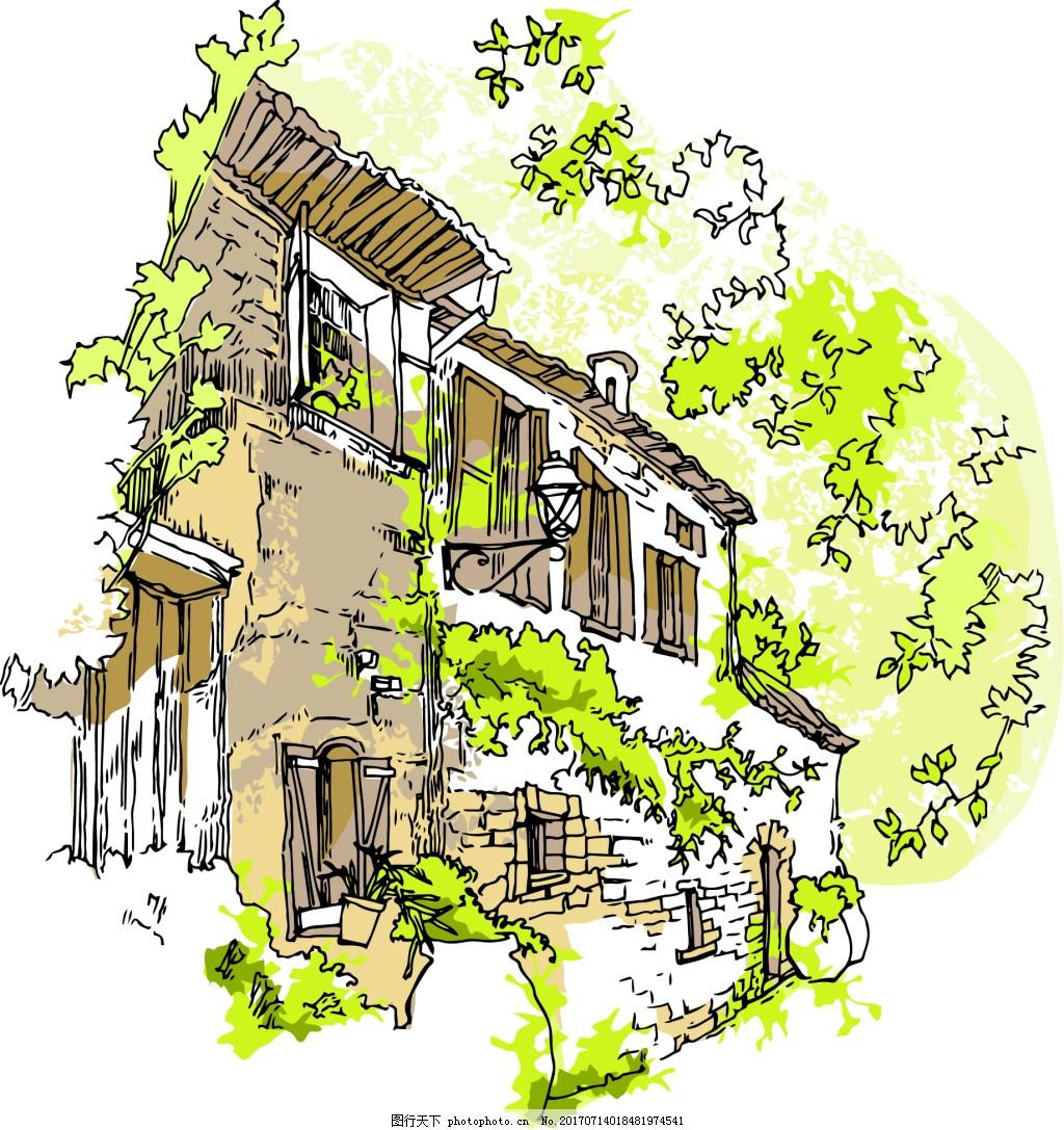 手绘乡村建筑插画