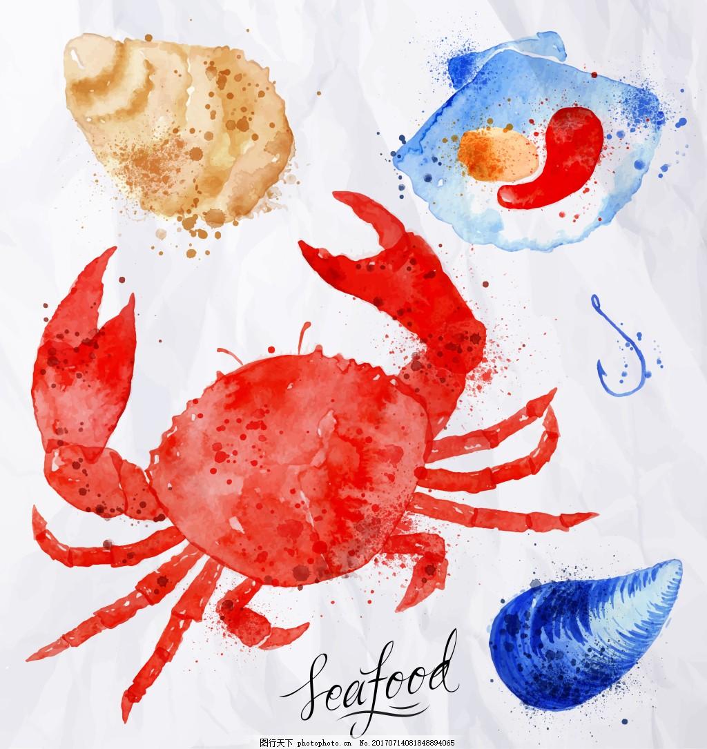 动物元素 红色 大螃蟹 海螺 贝壳 沙滩 水彩 手绘 创意 涂鸦 小清新