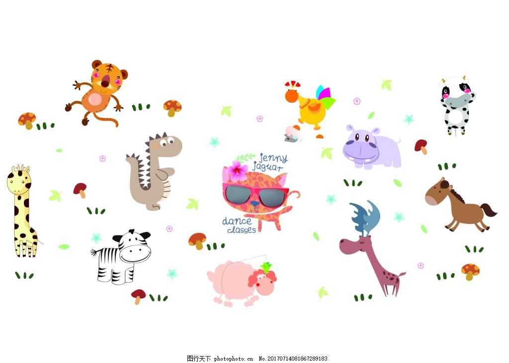 森林动物卡通插画