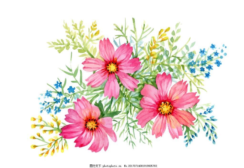 粉色小花花丛花朵水彩手绘矢量文件