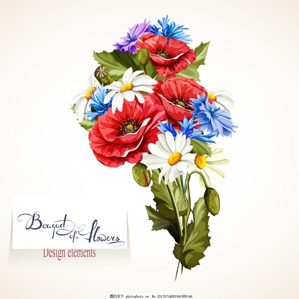 复古手绘的花束插画