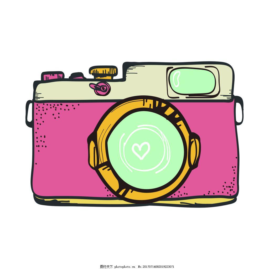 粉色照相机夏季小清新矢量素材 少女 手绘 水彩 卡通 装饰 印刷