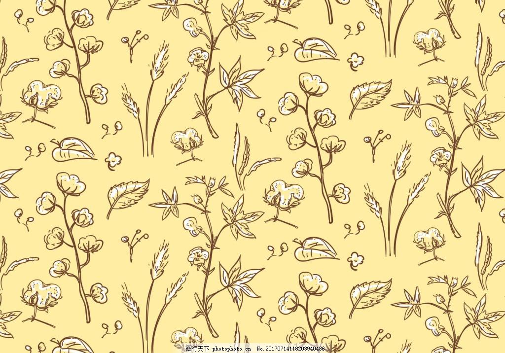小清新手绘棉花花卉背景素材