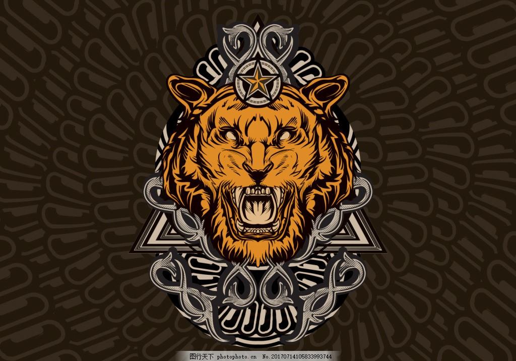 手绘炫酷背景狮子服饰图案