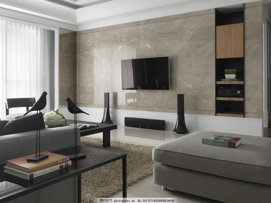 简约客厅石材背景墙效果图 设计素材 室内装修 现代装修 客厅背景墙