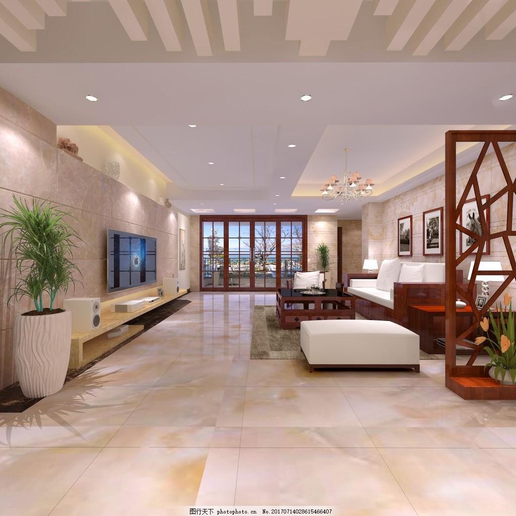 电视 沙发 门窗 新现代中式效果图 超大电视背景墙