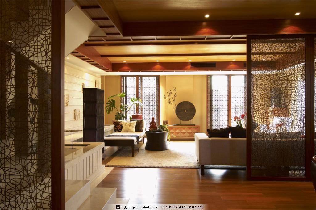 现代中式客厅装修效果图 室内装修效果图图片 时尚 室内设计 设计素材