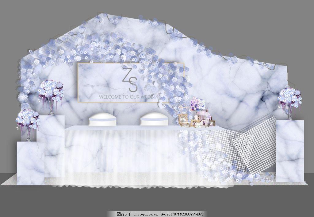 大理石纹签到台效果图 蓝色大理石 婚礼 婚庆 清新 花卉 平面图