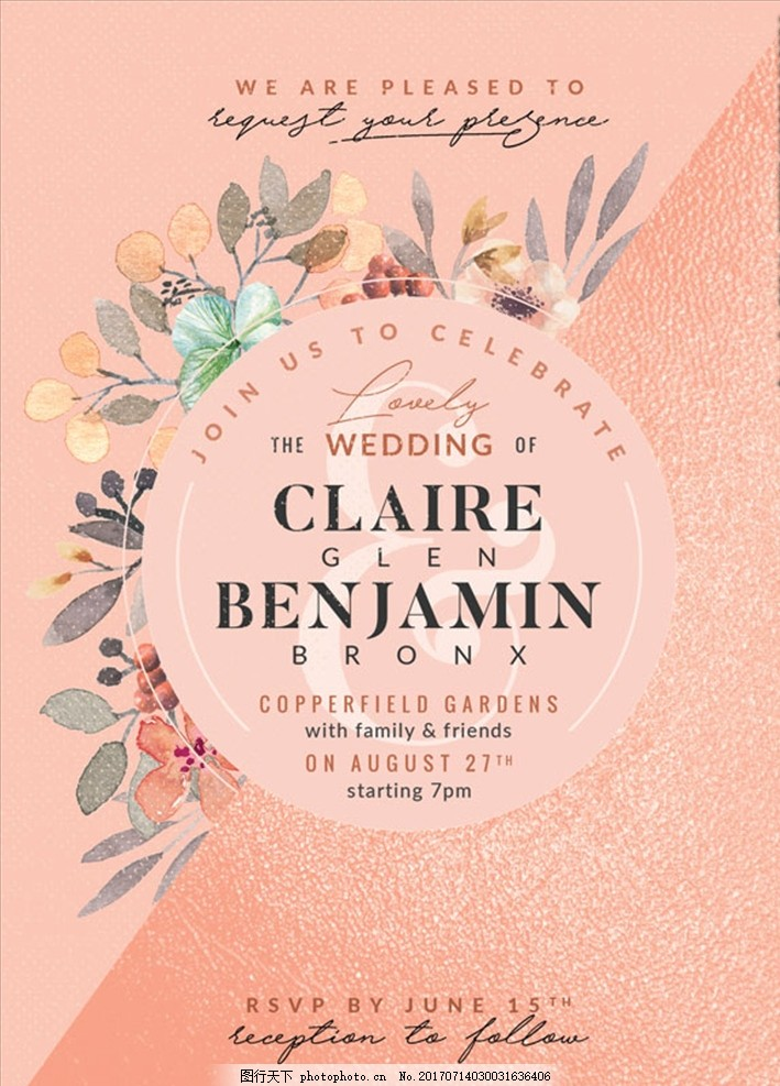植物 婚礼 婚庆 婚纱 结婚 卡片 名片 名单 邀请函 婚礼邀请函 欧式