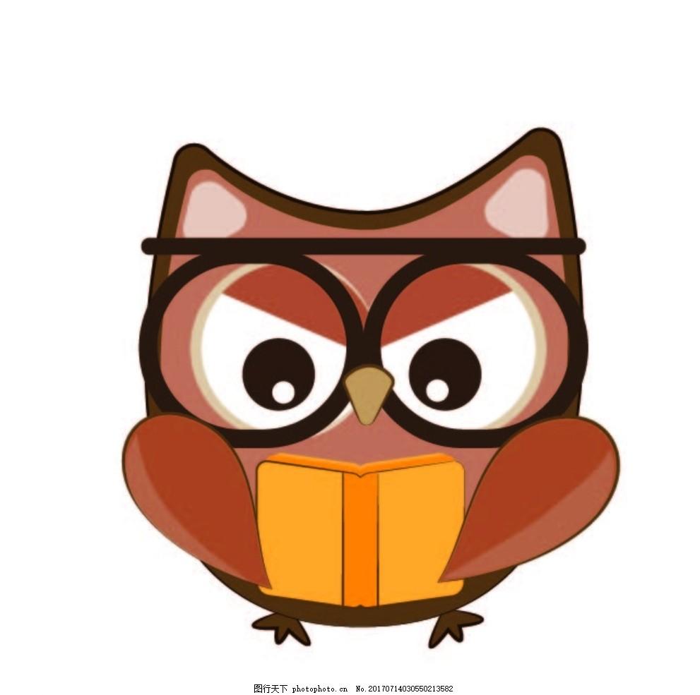 卡通猫头鹰,卡通动物 动漫卡通 可爱 贺卡 动物插画