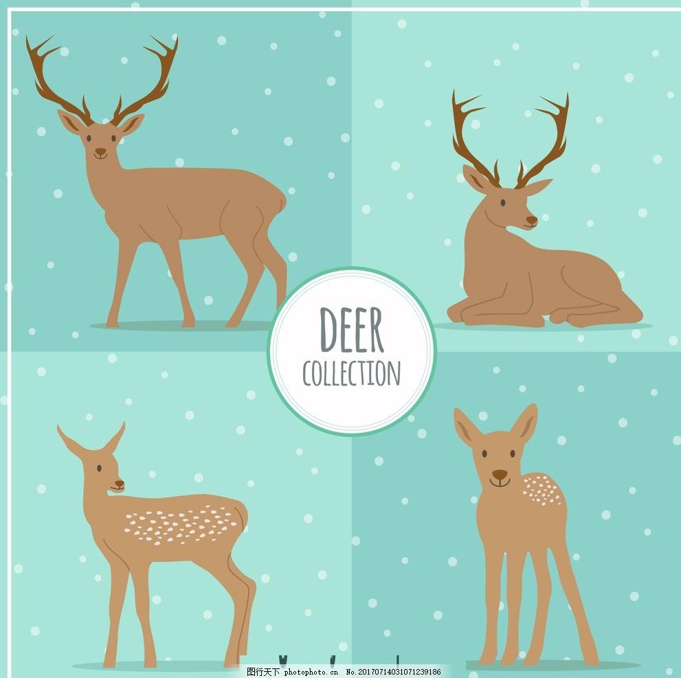 手绘冬季驯鹿