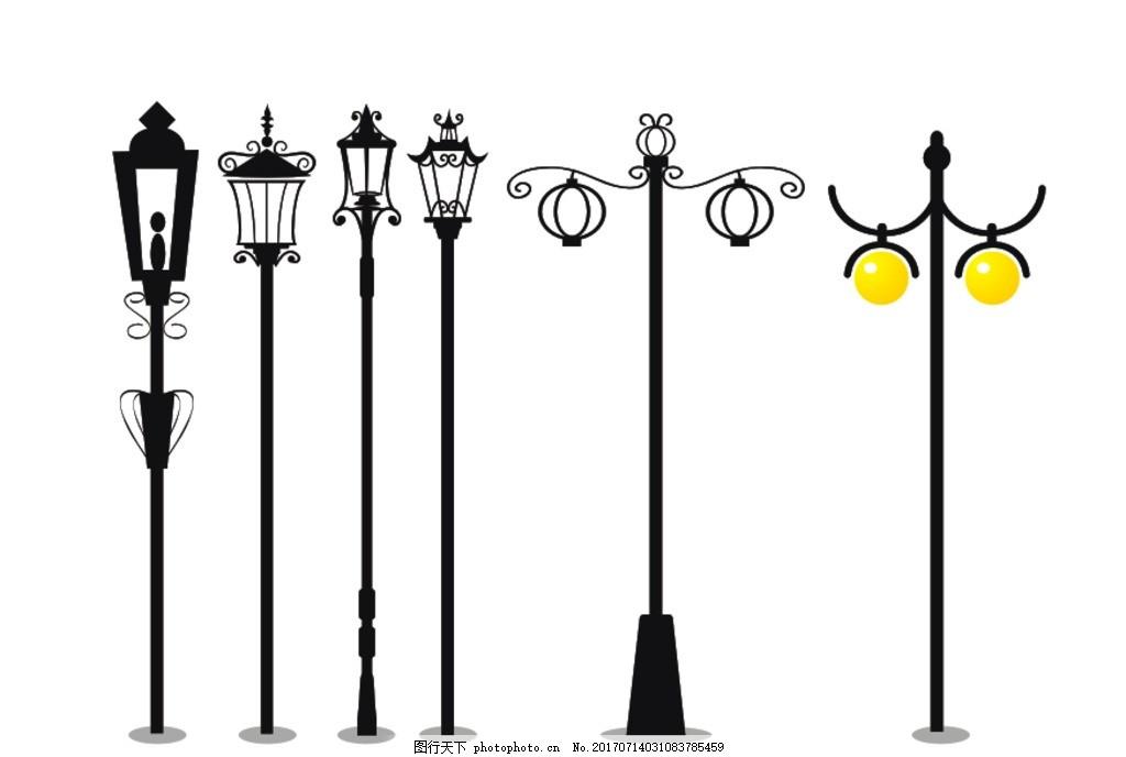 矢量图 路灯 灯 黑色 街灯 设计 广告设计 其他 cdr