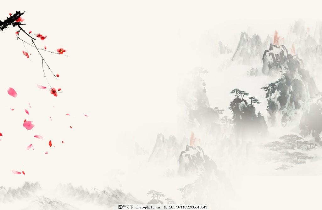 中国风水墨画 山水 桃花 松树 建筑 小亭