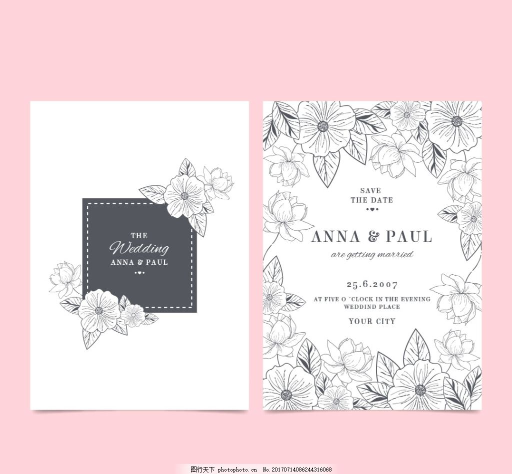黑白创意唯美手绘花卉花朵婚礼邀请卡 手绘插画 矢量素材 卡片 邀请函