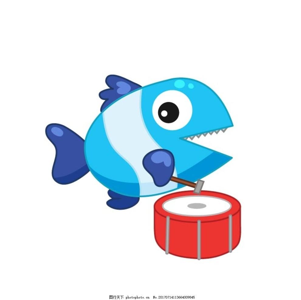 卡通鱼 卡通动物 动漫卡通 可爱 贺卡 动物插画 儿童绘本 儿童画画