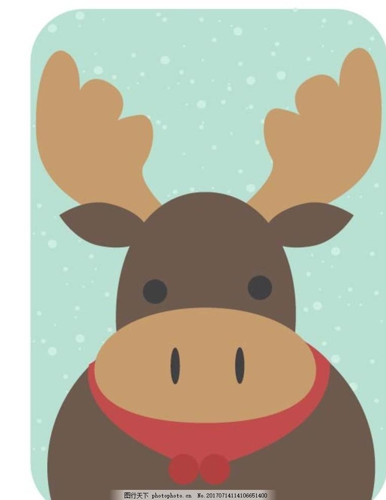 卡通麋鹿 卡通动物 动漫卡通 可爱 贺卡 动物插画 插画 儿童绘本 儿童