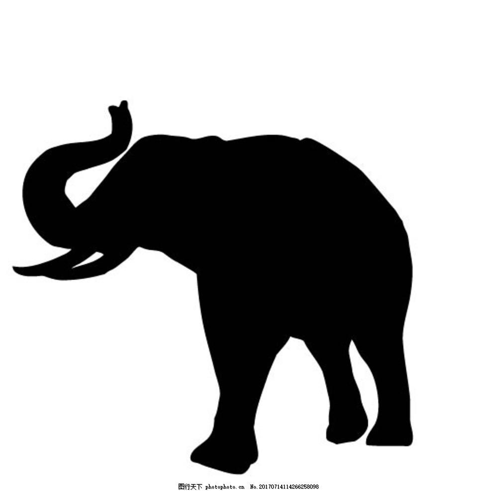 大象剪影 卡通动物 动漫卡通 可爱 贺卡 动物插画 儿童绘本 儿童画画