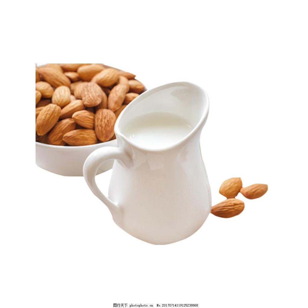 白色奶瓶干果元素 牛奶 白色牛奶瓶 坚果 免抠