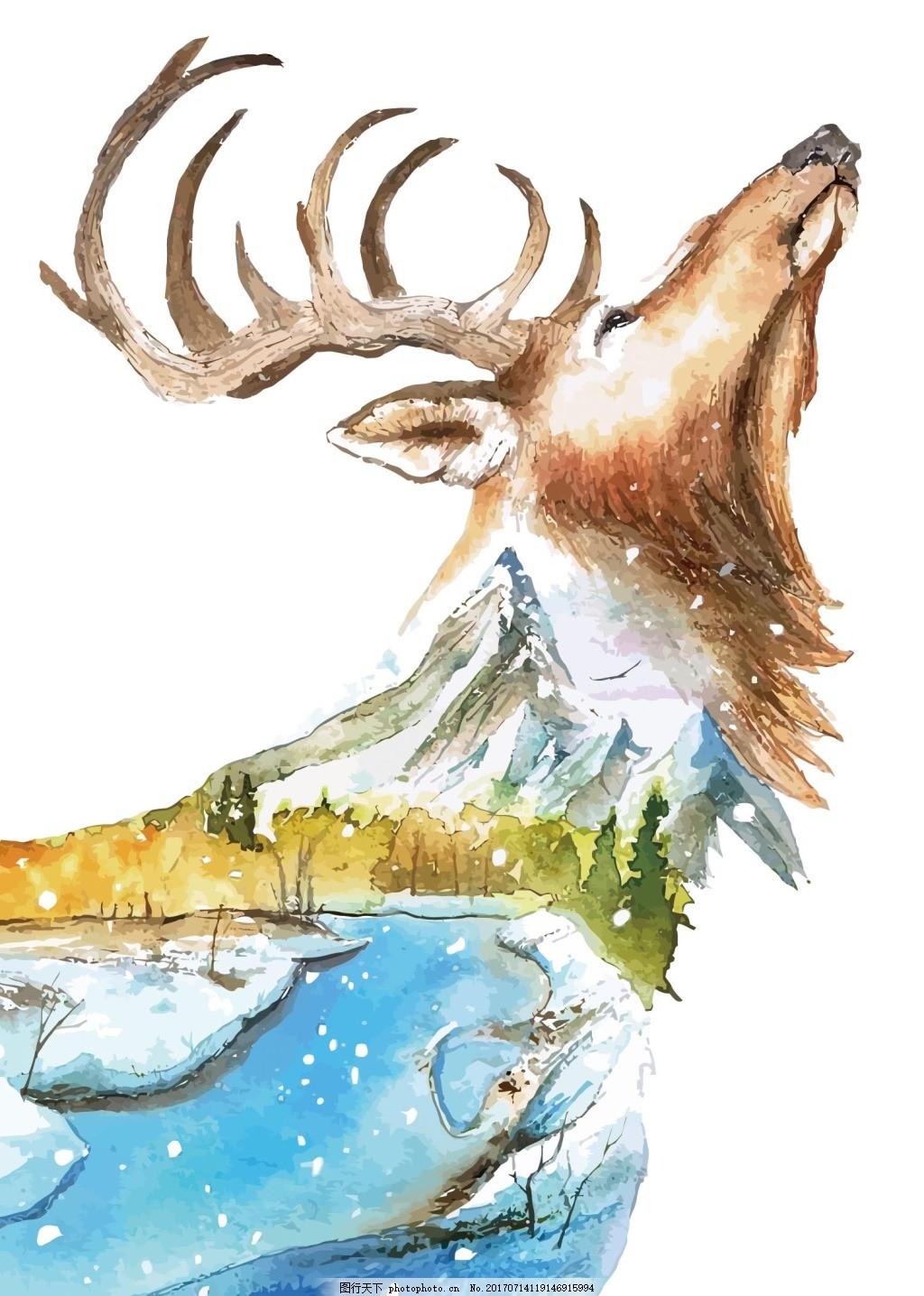 手绘动物png元素 小动物 野生小动物 河水 下雪