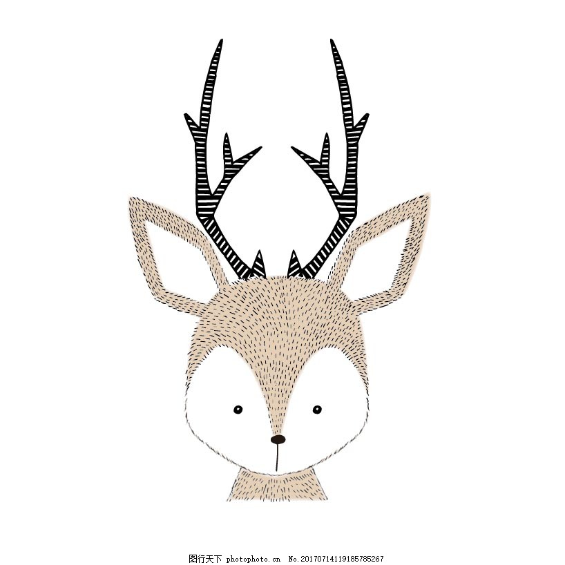 卡通手绘小鹿png元素 小动物 可爱 大自然 野生