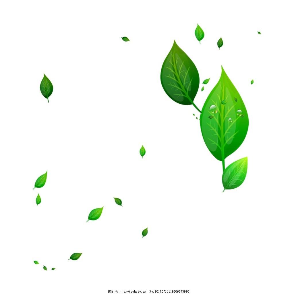 飘落的绿叶png元素 绿叶 飘落 树叶 绿色 树木 漂浮图片