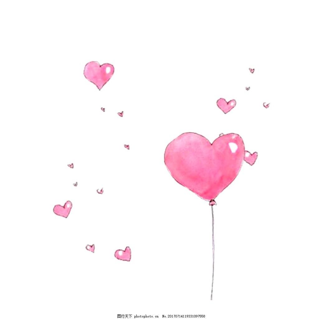 手绘心形气球元素