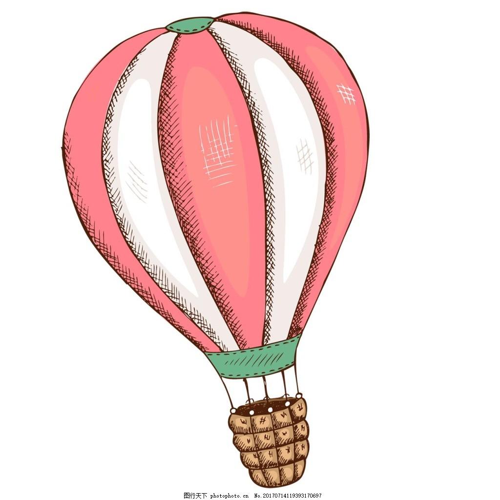 手绘热气球png元素 卡通热气球 手绘 粉色 条纹 漂浮 热气球 图案