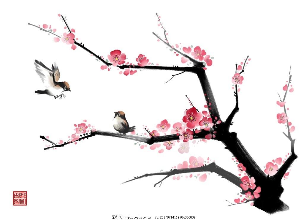 手绘粉色梅花元素 水墨 黑色树枝 小鸟 蝴蝶 免抠