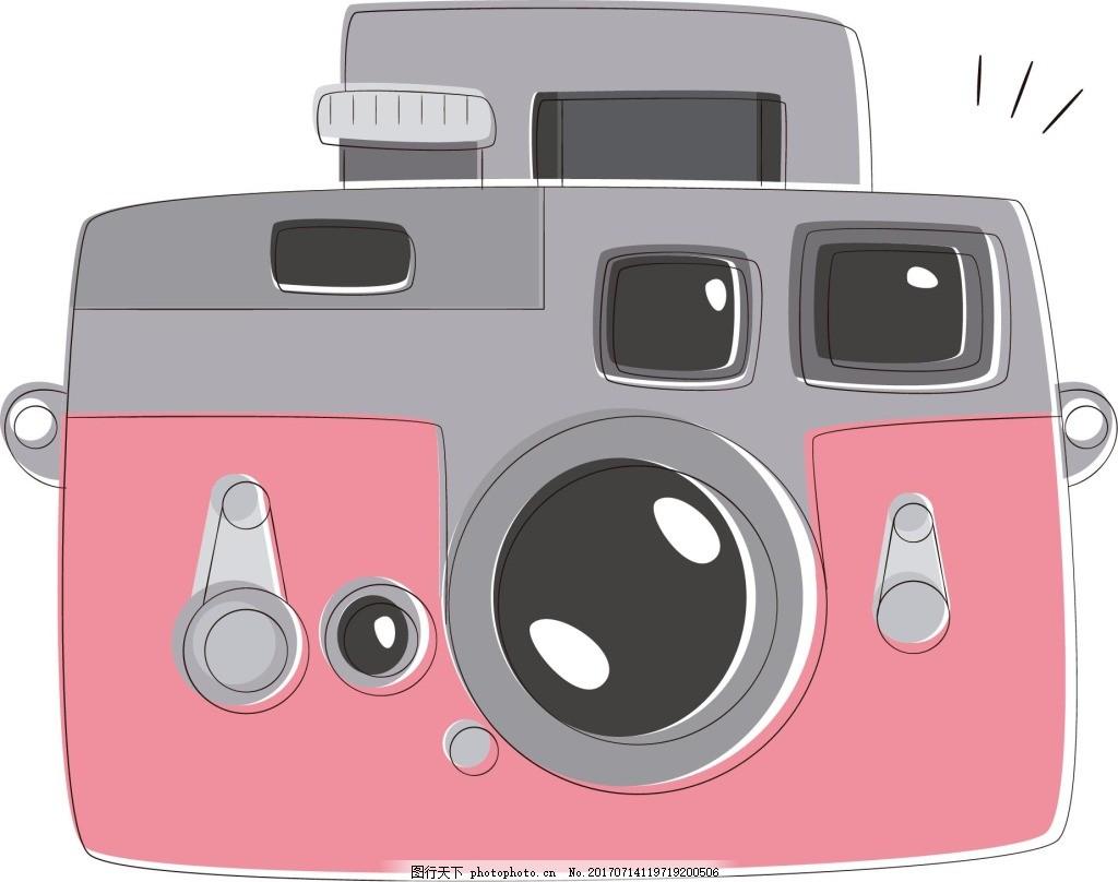 手绘粉色相机元素 手绘 卡通 拍照 相机 粉色相机 可爱 png 免抠 png