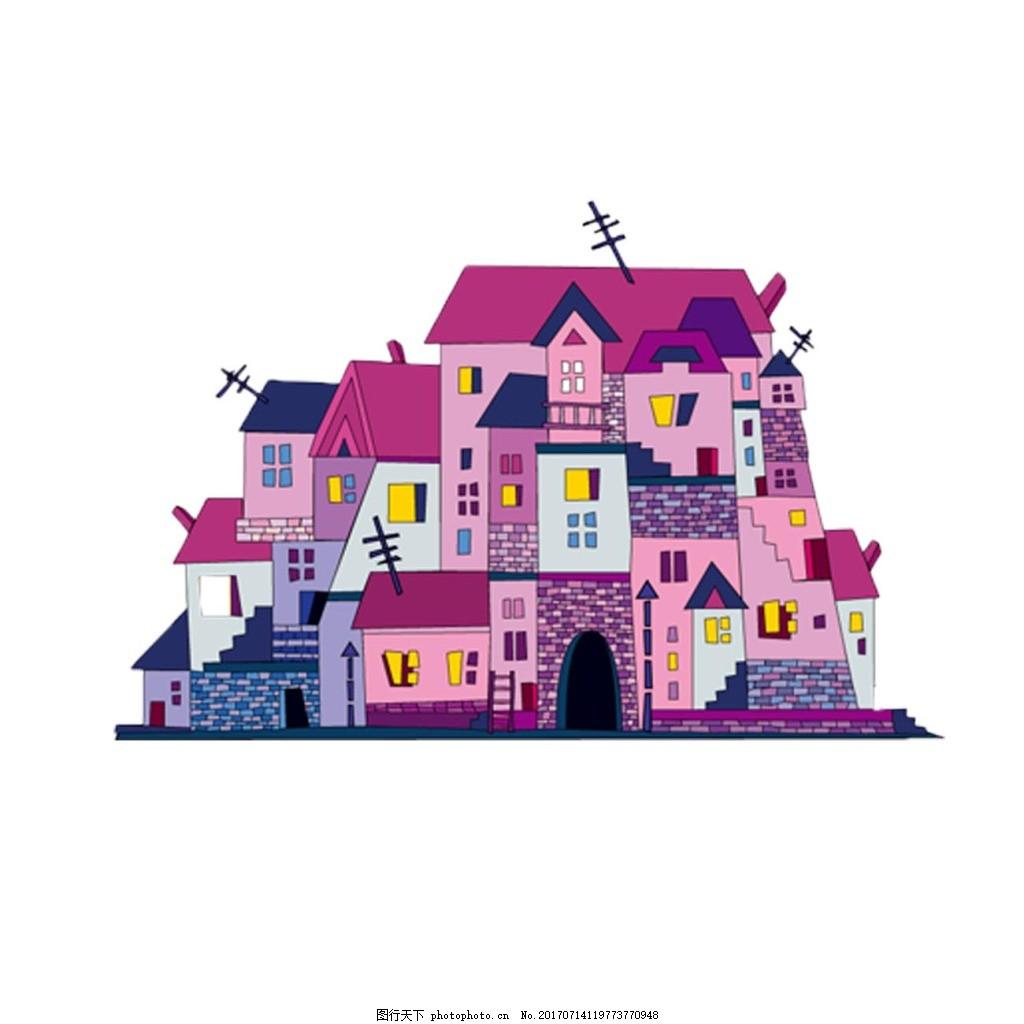 手绘粉色房子元素 手绘 村庄 房屋 粉色房子 卡通 png 免抠 素材 png
