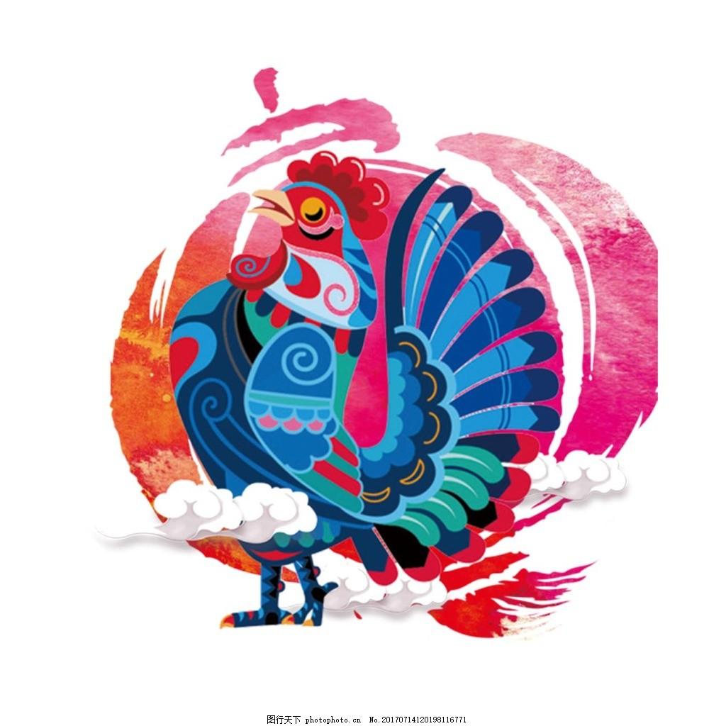 手绘彩色公鸡元素