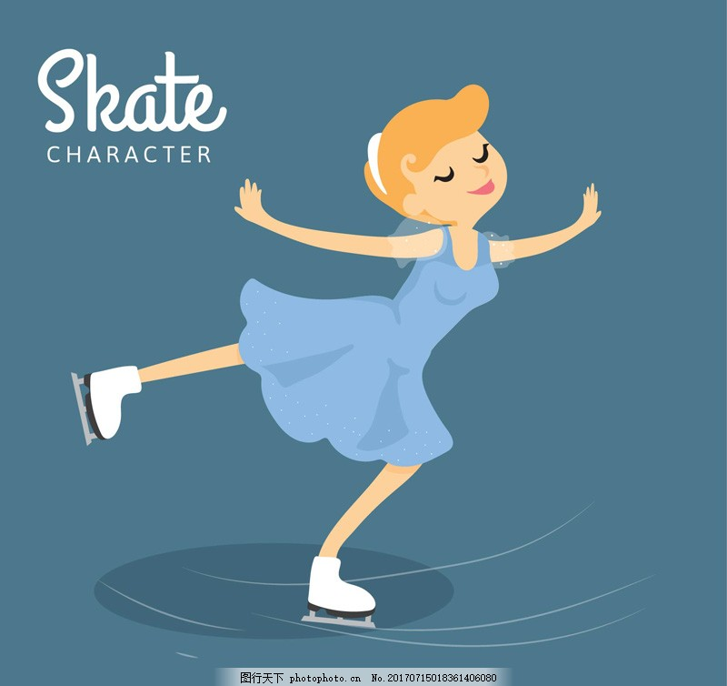 滑冰的金发女子矢量 人物 卡通 体育 运动 女人 插画