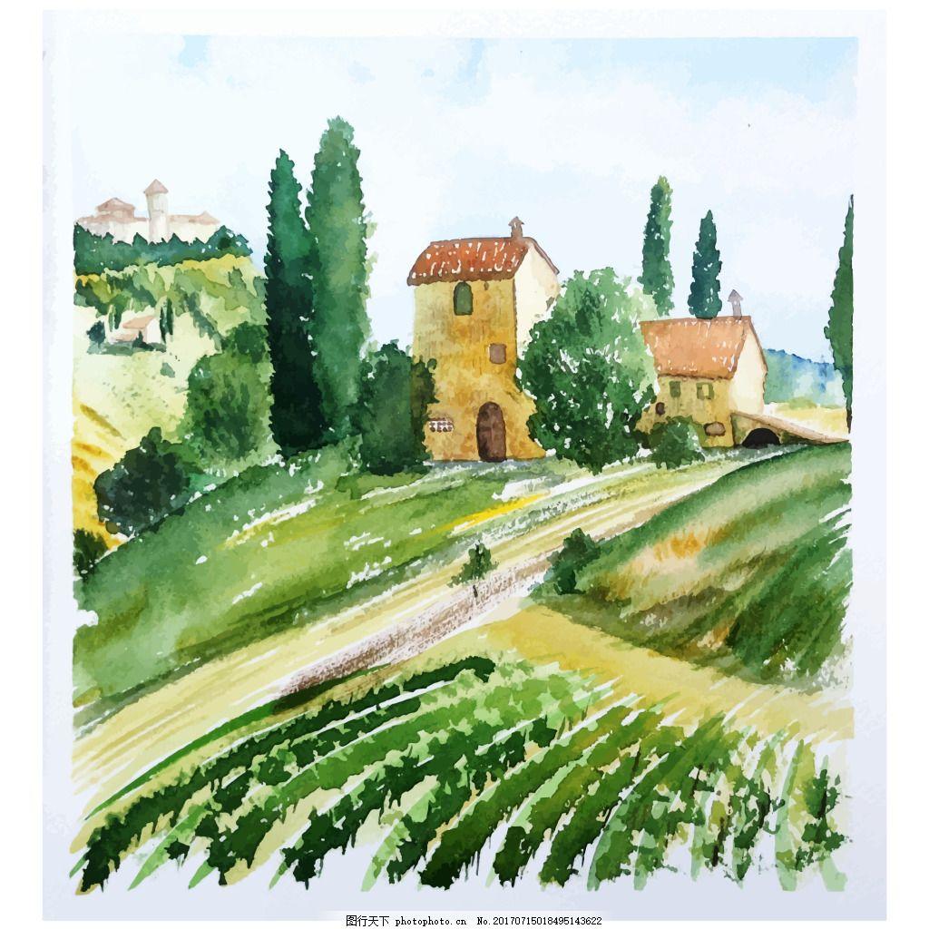 水彩绘风景插画 大自然 绿色 春天 房子 建筑 大树