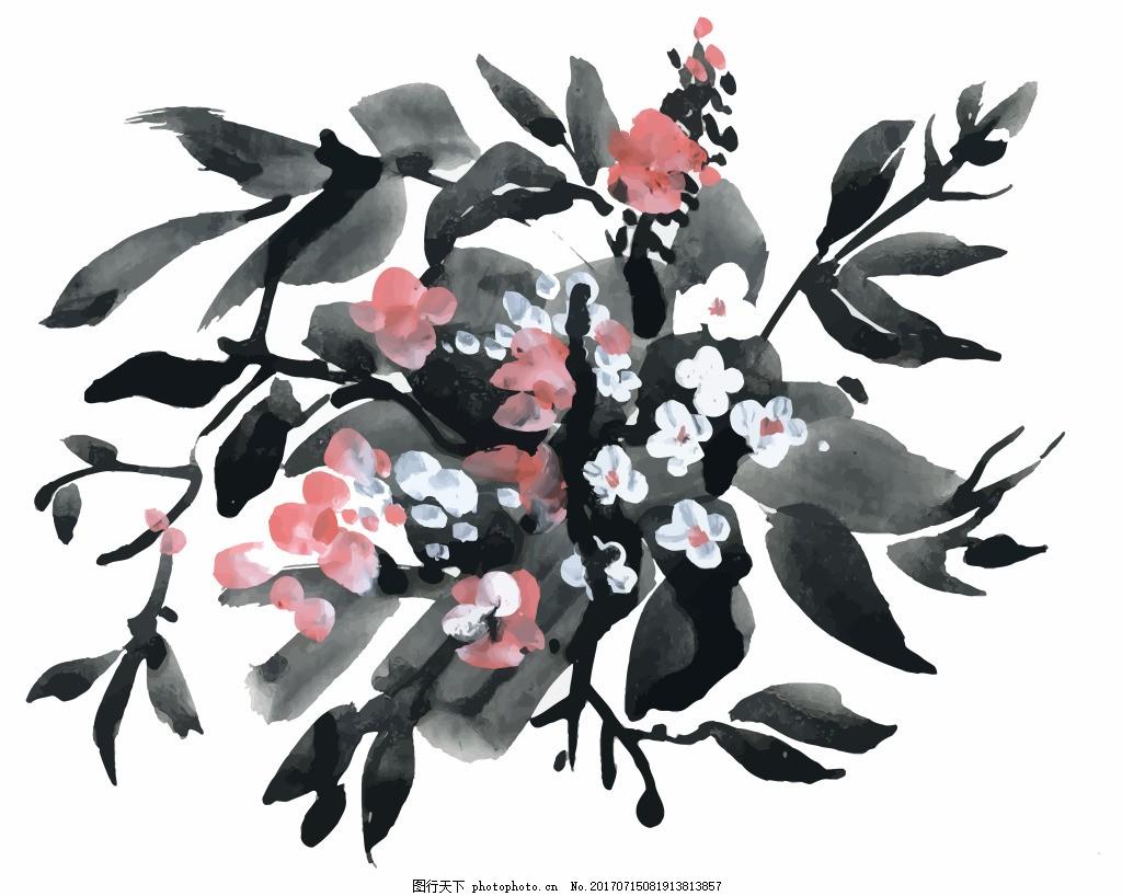 水墨花束花朵水彩手绘矢量文件 白色 树叶 花园 夏天 中国风 国画