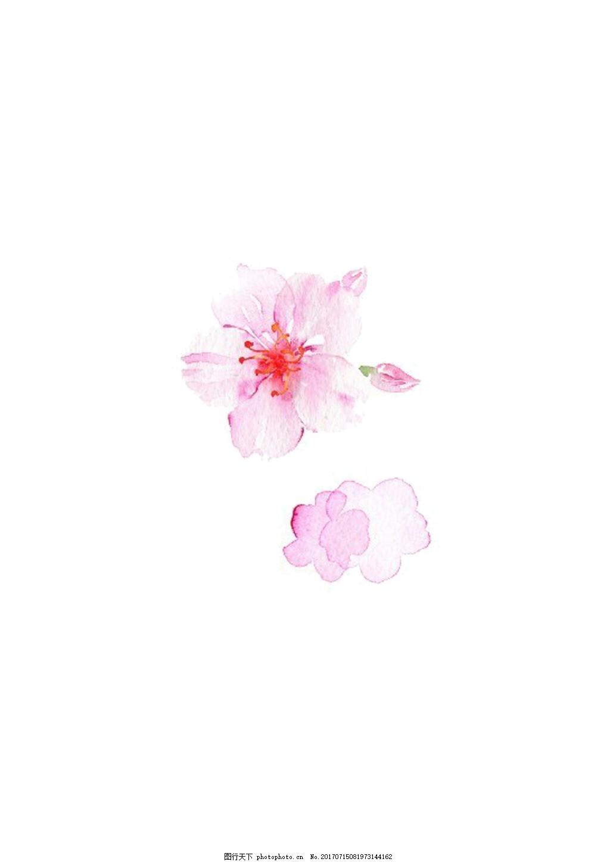 手绘小清新粉色桃花素材