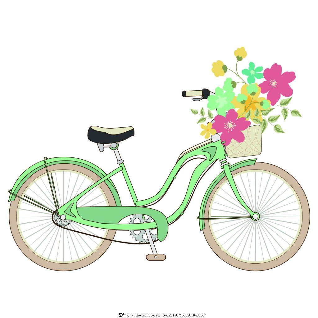 绿色浪漫脚踏车夏季小清新矢量素材 自行车 单车 婚礼 手绘 水彩 小花