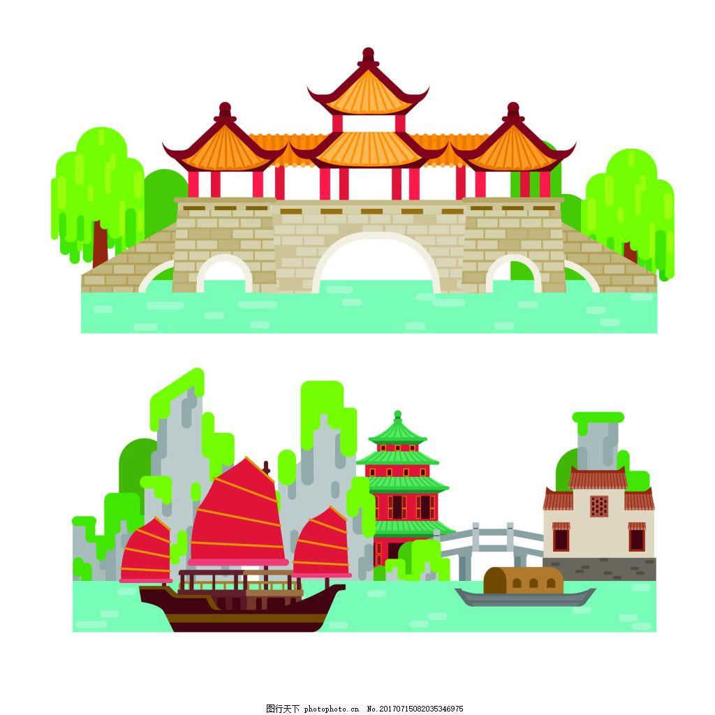 扁平化中国古代建筑房屋矢量素材 城楼 风景 河边 中国经典 插画